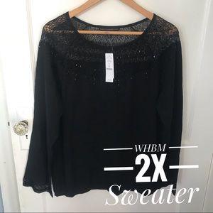 WHBM Black Yoke Sweater Plus 2X NWT